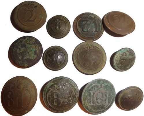 Boutons numérotés Infanterie 1er et 2nd Empire